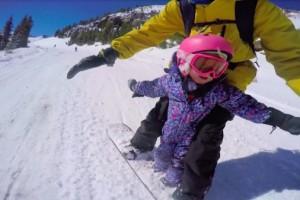 有爱视频|单板老爸分享和3岁女儿玩单板视频